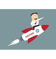 Flat cartoon businessman flying on rocket to vector