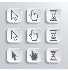 Pixel cursors web icons set vector
