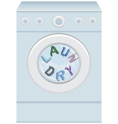 The word laundry in a washing machine vector