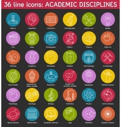 Set of academic disciplines icons vector