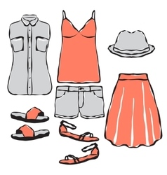 Fashion wardrobe objects set vector