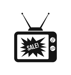 Tv screen with sale text icon simple style vector