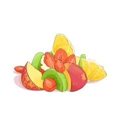 Mixed fruit salad vector