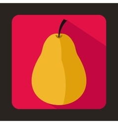 Ripe yellow pear icon in flat style vector