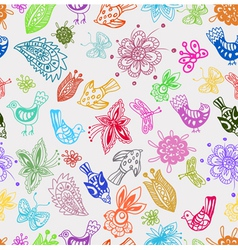 Seamless color background with flowers and birds vector