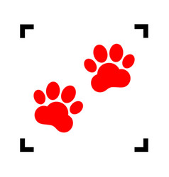 Animal tracks sign red icon inside black vector