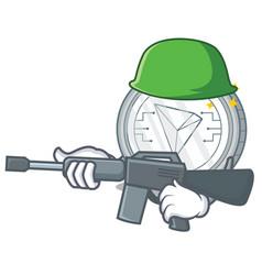 Army tron coin character cartoon vector