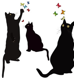 Black cats silhouettes and colorful butterlies vector