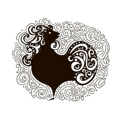 Black Cock - Symbol of New Year 2017 Rooster vector image vector image