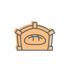Bread in oven line icon sign for production of vector