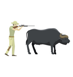 Bull farm animal safari hunter standing vector