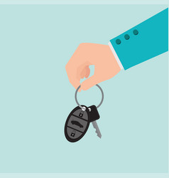 Businessman hand holding car key vector