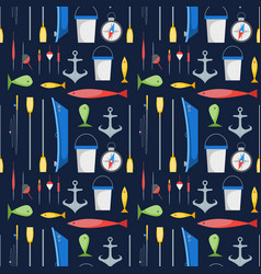 cartoon fishing background pattern vector image vector image