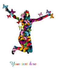 collorful with silhouette of woman jumping and vector image vector image