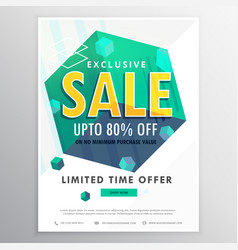 Creative sale poster banner flyer design with 3d vector