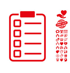 Examination icon with love bonus vector