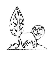 figure cute lion wild animal next to tree vector image