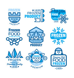 Frozen food product set of logo templates hand vector