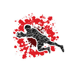 goalkeeper jumping action catches the ball vector image vector image