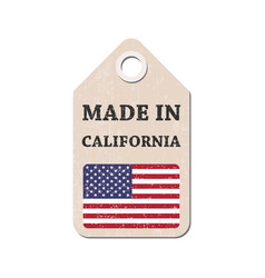 Hang tag made in california with flag vector