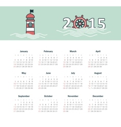 Marine calendar 2015 year with lighthouse vector image