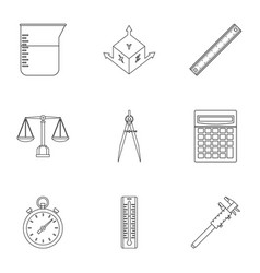 Measure instrumentation icon set outline style vector