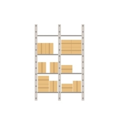 Metal industrial shelf with paper boxes vector