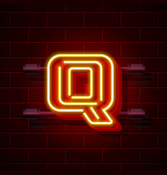 Neon city font letter q signboard vector