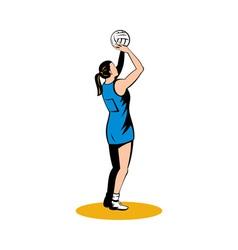Netball player shooting ball vector