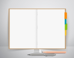 Note book with pen and pencil business working vector