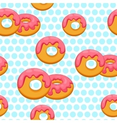 Pattern donut with pink glaze vector image