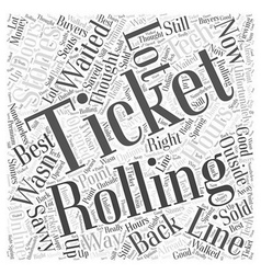 Rolling stones tickets word cloud concept vector