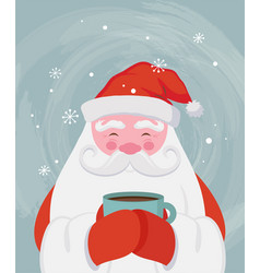 Santa drinking a hot drink at winter scenary vector