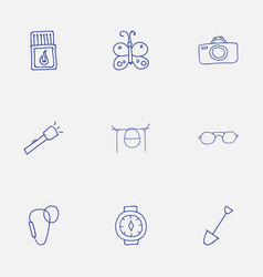 Set of 9 editable camping doodles includes vector
