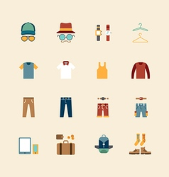 web flat icons set - man clothing store vector image