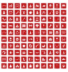 100 nursery school icons set grunge red vector