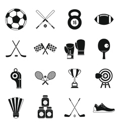 Sport equipment icons set simple style vector