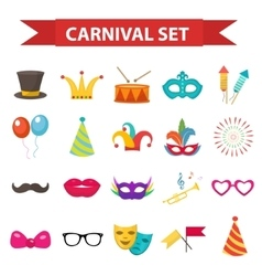 Party icons design element flat style carnival vector
