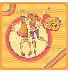 Card with dancing girls in retro style vector