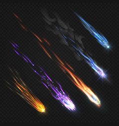Meteors comets and fireballs with fire trails vector