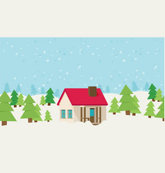 Christmas card with house vector