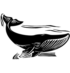 Woodcut whale 6 vector