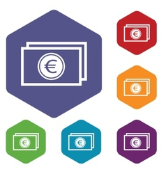 Euro buck rhombus icons vector