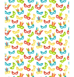 Seamless carnival masks pattern isolated on white vector