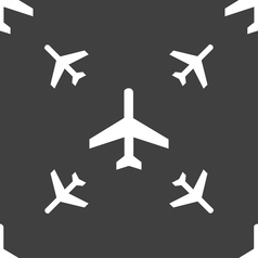 Airplane icon sign seamless pattern on a gray vector
