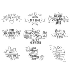 Christmas new year and winter wishes ribbons vector