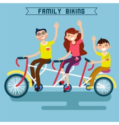 Family biking family riding triple tandem bicycle vector