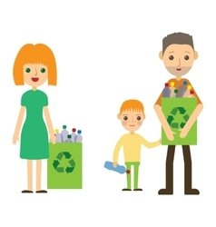 Family recycling plastic bottles flat styled vector