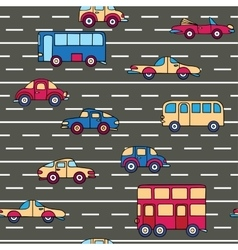 seamless pattern with cars and buses vector image