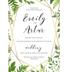 Botanical wedding invitation invite card design vector